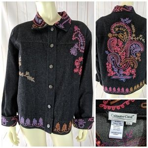 Coldwater Creek Black Jean Jacket PXL Embroidery